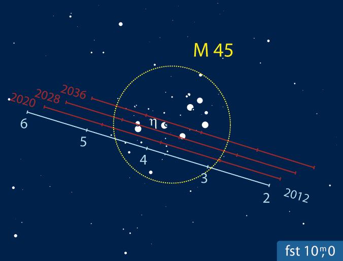Venus passiert M 45. [Frank Gasparini, interstellarum]