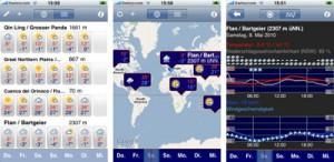 Verschiedene iPhone-Ansichten der neuen Applikation meteo4m