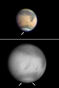 Zwei Marsfotos von interstellarum-Lesern zeigen die dunklen Markierungen in der Nordpolkappe am 3.12.2009 (a) und 5.1.2010 (b). [Torsten Hansen, Ralf Gerstheimer]