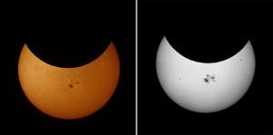 """Die teilverfinsterte Sonne mit der Aktiven Region 12192 zum Zeitpunkt des Maximums der Verfinsterung (ca. 40% am Grand Canyon) um 15:36 Uhr Ortszeit. Sonne im Weißlicht. Digitalaufnahme, 2,4""""-Refraktor bei 600mm, Canon EOS 450D, Folienfilter. (links). Sonne im Hα-Licht. CCD-Aufnahme, 2,4""""-Refraktor bei 355mm, The Imaging Source, Coronado Hα-Filter, Summenbild aus 50 (von 100) Bildern. [Ullrich Dittler]"""