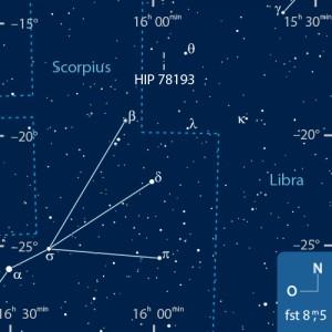 Schattenpfad des von (9) Metis am 7. März (a) sowie der Ort der Sternbedeckung im Sternbild Waage (b). [a) Steve Preston, interstellarum | b) Frank Gasparini]