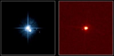 Die beiden einzigen bisher anerkannten »Plutoids« nebst ihren Monden: Pluto mit Charon, Nix und Hydra und Eris mit Dysnomia. [IAU, NASA/ESA Hubble Space Telescope, H. Weaver (JHU/APL), A. Stern (SwRI), the HST Pluto Companion Search Team and M. Brown]