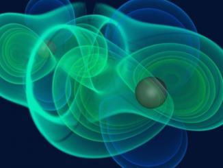 Simulation einer kosmischen Kollision: Tanzen Schwarze Löcher umeinander und stoßen zusammen, werden Gravitationswellen frei. [MPI für Gravitationsphysik]