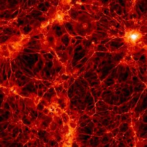 Ein simulierter Würfel von 350 Millionen Lichtjahren Kantenlänge zeigt die Verteilung der baryonischen Materie im Universum. Die Berechnungen deuten darauf hin, dass in den Hohlräumen dazwischen bedeuten mehr Materie versteckt ist als bisher gedacht. [Markus Haider / illustris collaboration]