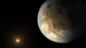 Kepler-186f ist ein 2014 entdeckter Exoplanet in rund 490 Lichtjahren Entfernung zur Erde. Er umkreist den Roten Zwerg Kepler-186 der Spektralklasse M im Sternbild Cygnus (Schwan). Seine Umlaufbahn liegt in einer habitablen Zone. [NASA Ames/SETI Institute/JPL-Caltech]