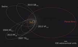 Hinweise auf den neuen Planeten liefern Kuipergürtel-Objekte mit seltsamen Bahnen – hier in weiß dargestellt. Selbst bei seiner größten Annäherung an die Sonne bleibt der Planet, dessen Umlaufbahn in rot dargestellt ist, weit jenseits der Neptunbahn (türkis) [Nature, nach: Batygin, K., Brown, M.E., Astronomical Journal 151, 2016, fig. 2 (Ausschnitt)]