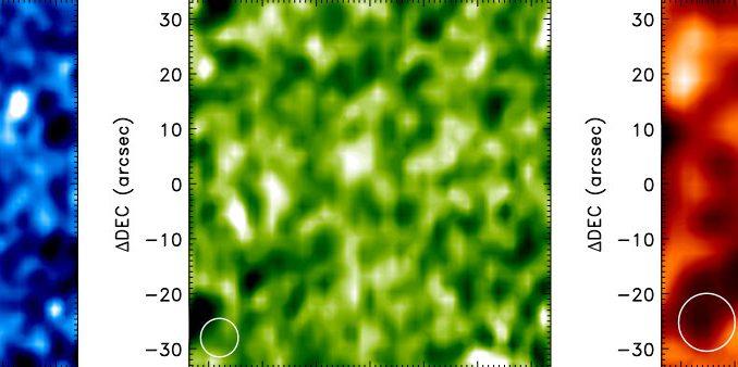 So sah der Infrarot-Satellit Herschel das trans-Neptunische Objekt 2007 OR10 bei 70, 100 und 160 µm Wellenlänge, es handelt sich jeweils um den hellen Fleck nahe der Bildmitte (die weißen Kreise geben die räumliche Auflösung an): Kombiniert mit der Helligkeit im sichtbaren Licht ergibt sich, dass dieser noch namenlose Himmelskörper mit rund 1500 km Durchmesser der drittgrößte hinter dem Neptun sein könnte. [Pál et al.]