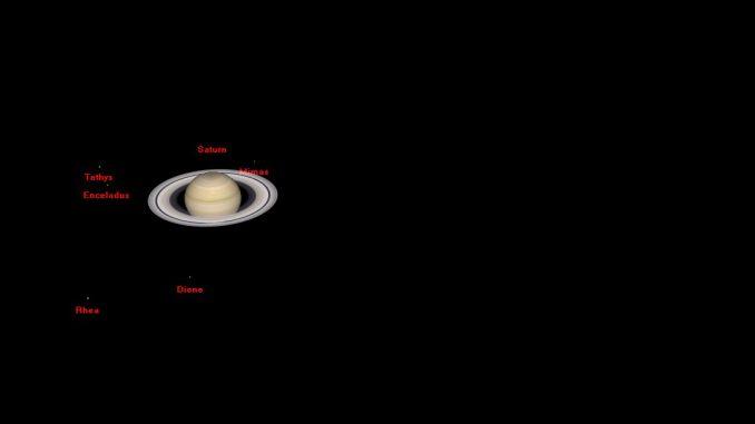 Blick auf das Saturnsystem am 3.6.2016 um 1:30 Uhr