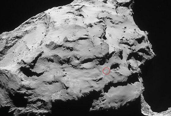 In diesem roten Kreis soll die Raumsonde Rosetta am Mittag des 30. September auf dem Kern des Kometen Churyumov-Gerasimemko aufsetzen und damit ihre Mission beenden. [ESA]
