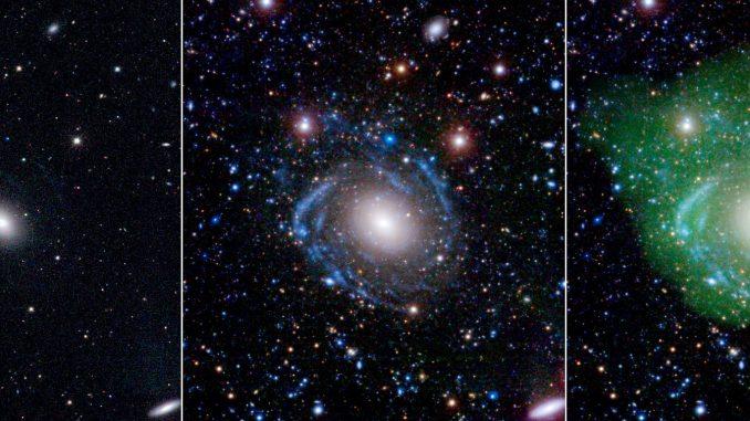 In der Galaxie UGC 1382 steckt viel mehr als das linke Bild der optischen Himmelsdurchmusterung SDSS verrät: Die vermeintliche kleine elliptische Galaxie zeigt nämlich große Spiralarme, wenn man UV-Bilder des Satelliten GALEX und tiefe SDSS-Daten dazu mischt (Mitte). Und zusammen mit Wasserstoffgas aus Radiomessungen des Very Large Array (rechts in grün addiert) entpuppt sich UGC 1382 als eine der größten isolierten Galaxien überhaupt. [NASA/JPL/Caltech/SDSS/NRAO]
