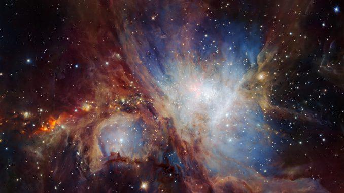 Der Orion-Nebel, wie ihn die Infrarotkamera HAWK-I des Very Large Telescope siieht: ein Mosaik, das tiefer reicht als je zuvor. [ESO/H. Drass et al.]