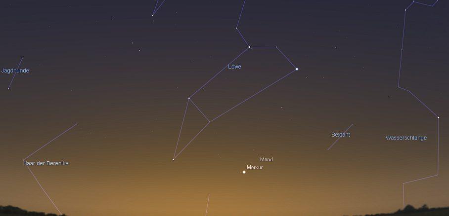 Merkur und Mond am 29.9.2016 um 6:30 MESZ