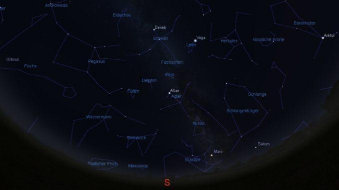 Der Himmelsanblick am 1.10.2016 um 20:30 MESZ.