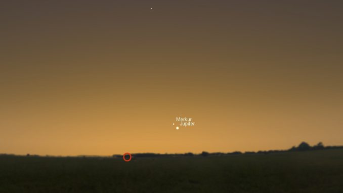 Merkur und Jupiter am 11.10.2016 um 7:00 MESZ.
