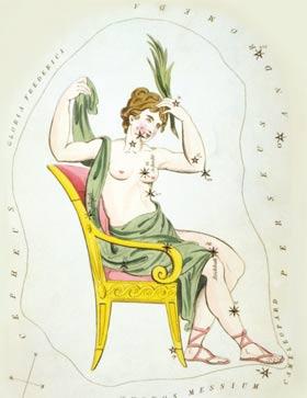 Abb.: Das vielfach nur als Himmel-W bekannte Sternbild stellt die eitle Königin kassiopeia auf ihrem Thron dar.