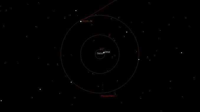 Venus und Neptun am 12.1.2017 18:30 MEZ.