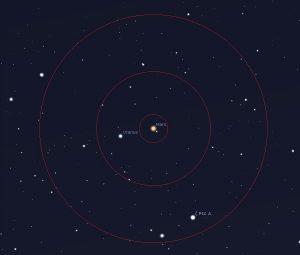 Mars und Uranus am 26.2.2017, 19:30 MEZ