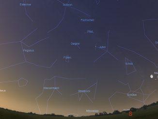 Saturn und Mond in der Morgendämmerung am 14.5.2017 5:00 MESZ