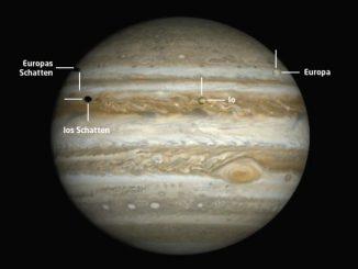 Jupiter mit zwei Monden und Doppelmondschatten