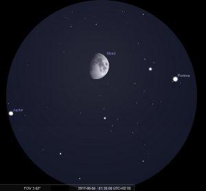 Mond und Jupiter am 4.6.2017 um 1:30 MESZ