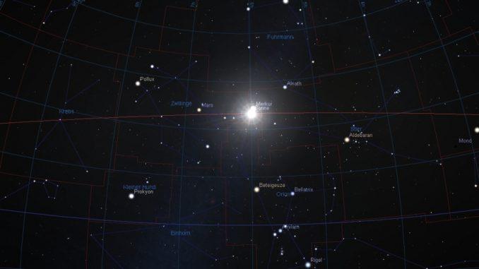 Sonne am Sternhimmel am 21.6.2017 um 6:24 MESZ