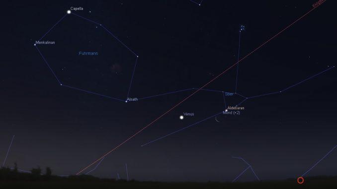 Mond, Aldebaran und Venus am 20.7.2017