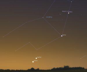 Mondsichel neben Mars am 15.11.2017