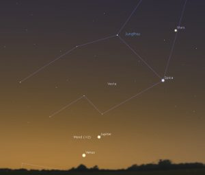 Extrem schmale Mondsichel bei Venus und Jupiter am 17.11.2017, 6:45 MEZ
