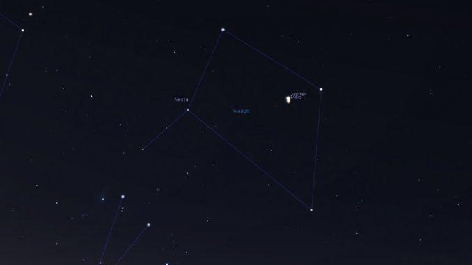 Mars nahe Jupiter 7.1.2018
