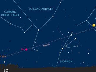 Mond-Saturn-Begegnung am Morgen des 11.3.2018, 4:30 MEZ [Abenteuer Astronomie / J. Scholten]