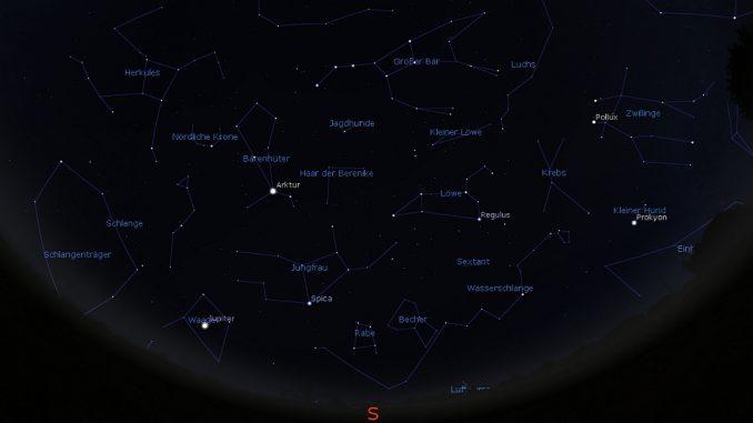 Himmelsanblick am Neumond-Wochenende 14./15.4. 0:00 MESZ