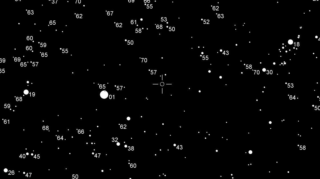 """Die Position der Zwergnova V392 Per in einer 33° breiten Himmelskarte mit ein paar Sternhelligkeiten (ohne Dezimalkomma) für Vergleiche. Links der Fuhrmann, rechts der """"Körper"""" des Perseus. [Daniel Fischer mit dem AAVSO-Kartengenerator]"""
