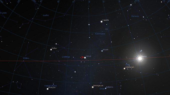 Nördlich am Sommerpunkt vorbei: Position der Venus am 22.5.2018