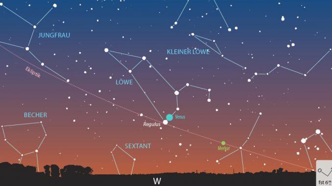 Venus trifft Regulus Anblick 9.7.2018, 22:10 MESZ