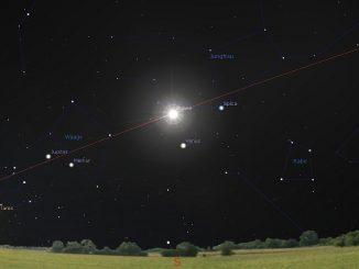 Venus in unterer Konjunktion Grafik Stellarium