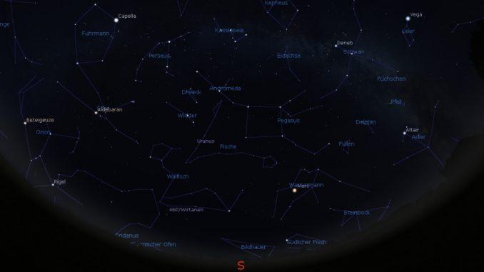 Astrovorschau Dezember: Blick an den Abendhimmel am 1.12.2018 20:00 MEZ.