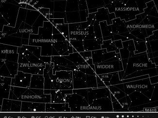Bahn des Kometen 46P/Wirtanen im Dezember 2018 / Januar 2019. Grafik: Abenteuer Astronomie / J. Scholten
